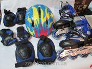 Набор: раздвижные детские ролики Alisher Sport + защита + шлем